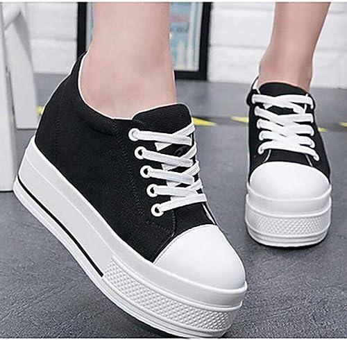 TTchaussures Femme Chaussures Toile Printemps Confort Basket Creepers Bout Rond Blanc Noir,noir,US7 EU37 UK5.5 CN37