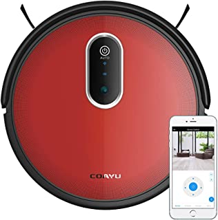 Robot Vacuum, COAYU C560 Wet Vacuum Robot Cleaner with Camera, Wi-Fi App Control, 1200Pa Strong Suction, 55dB Low Noise, 110min Cleaning Time, Good for Pet Hair, Carpets, Hard Floors (Red)