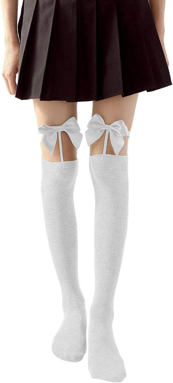 Ladies Satin Bow Cute Sexy Legs Long Tube Splicing High Thigh Stocking
