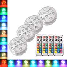OUSHE Submersible LED Lights with Remote Control Waterproof Underwater Battery Powered 13 RGB Color Changing 10 LED Lights for Decoration Christmas Party Aquarium Vase Base Swimming Pool Pond Gardens