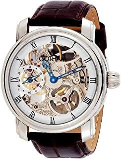 Men's Stainless Steel Mechanical Skeleton Leather Strap Watch # GWC14059W