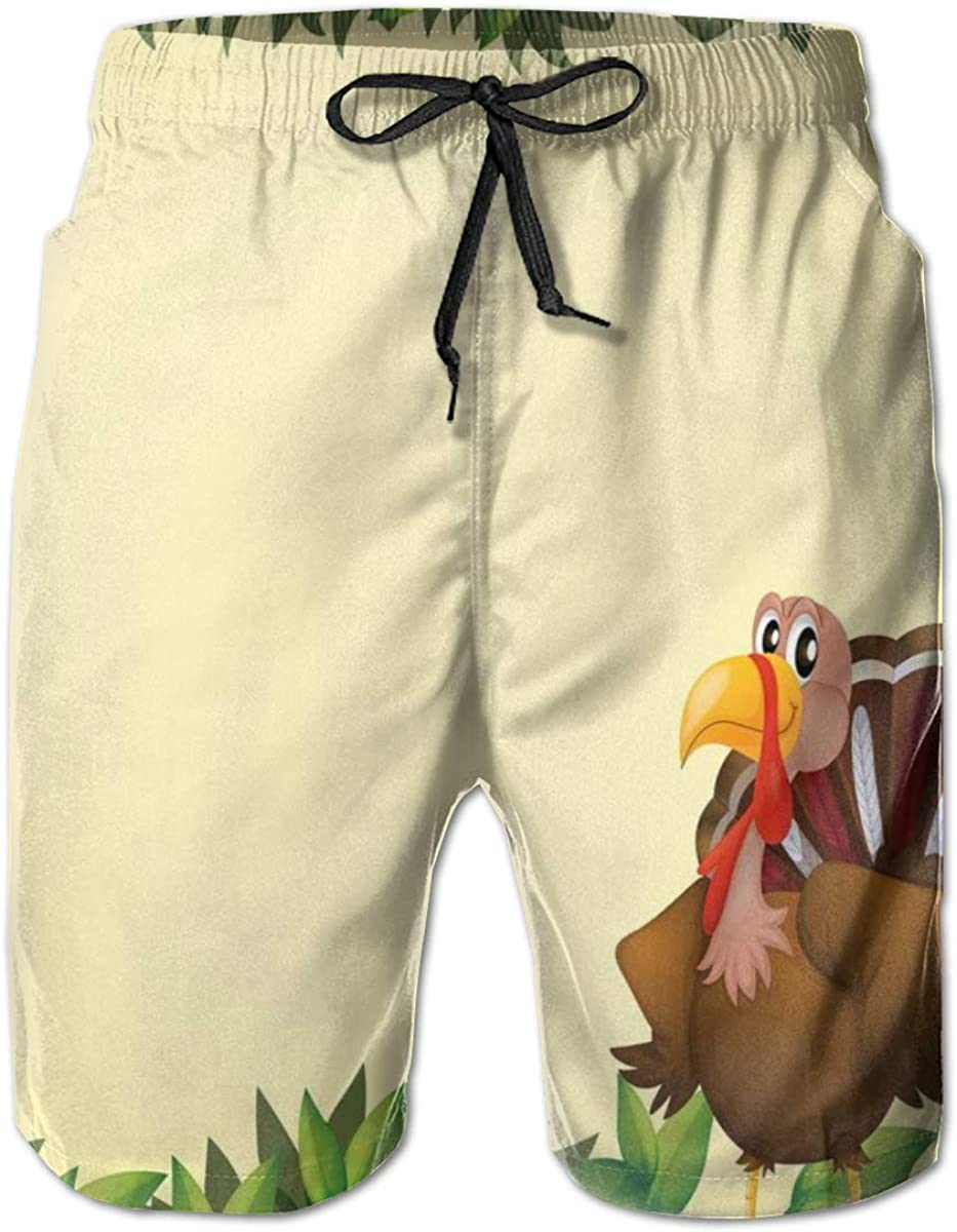 Men's Swim Trunks Quick Dry Beach Shorts Turkey with Happy Expression Green Foliage and Fresh Leaves M
