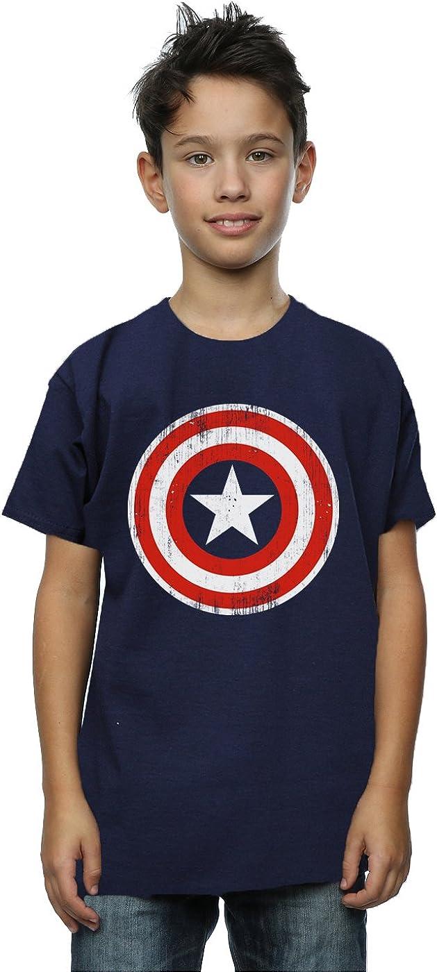 Marvel Boys Captain America Cracked Shield T-Shirt 5-6 Years Deep Navy