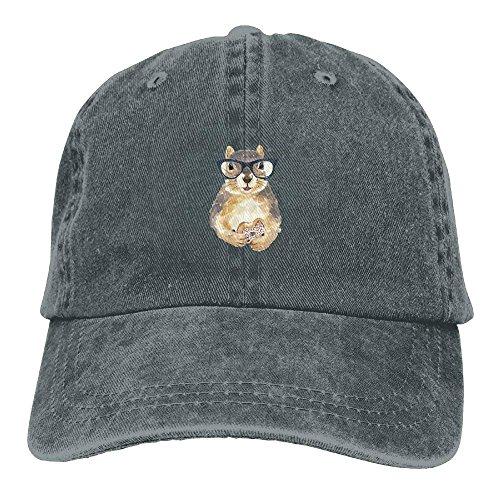 MERCHA Nerdy Squirrel with Glasses Dessert Unisex Adjustable Baseball Cap