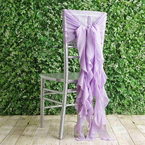 BalsaCircle 50 Lavender Premium Curly Chiffon Chair Cover Caps with Sashes - Wedding Party Ceremony Reception Decorations Supplies