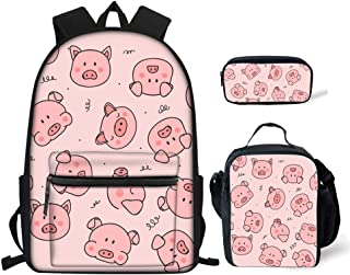 Pig Prints Elementary Girls School Bookbag Rucksack for Primary Girls School Backpack Set with Lunch Kits