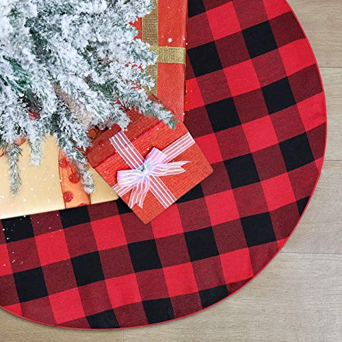 QueenDream Black and Red Plaid Tree Skirt Buffalo Checked Party Tree Skirt 24 Inches Small Tree Skirt Christmas Tree Skirts for Christmas Holiday Party Decorations