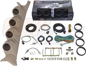 GlowShift Diesel Gauge Package for 1999-2007 Ford Super Duty F-250 F-350 Power Stroke - Tinted 7 Color 60 PSI Boost, 1500 F EGT, Transmission Temp & 100 PSI Fuel Pressure Gauges - Tan Quad Pillar Pod