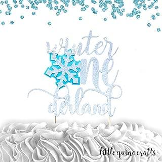 1 pc Winter Onederland Snowflake silver glitter baby blue cake topper for cake smash first birthday winter wonderland theme