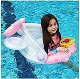 QUQU Entrenador Flotador de la natación de los niños con toldo Desmontable Anillo Inflable Barco Asiento de natación, Piscina de Verano sillón, Juguete de Agua for 2-6 años de Edad, Color: Negro