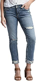 Silver Jeans Co. Women's Plus Size Elyse Relaxed Fit Mid Rise Ankle Slim Jeans