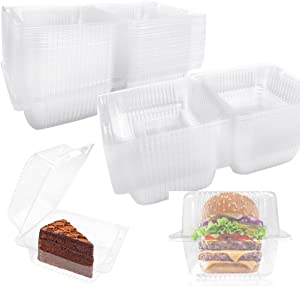 100 PCS Clear Plastic Take Out Containers,Clear Plastic Hinged Food Container,Disposable Clamshell Food Containers for Hamburger,Sandwiches,Cake,Salads,Pasta,Pastry(5.2x4.7x2.8 In)