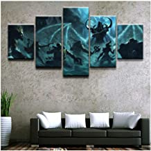 Junewind Canvas Painting Home Decor Painting Wall Art Poster Printed Modern 5 Panel Game Diablo Iii Reaper of Souls Canvas Living Room Modular Pictures-SIZE1