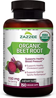 Zazzee USDA Organic Beet Root, 150 Veggie Caps, 1100 mg per Serving, USDA Certified Organic, 100% Pure Beta Vulgaris, Orga...