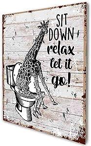 akeke Sit Down Relax Let it Go Funny Bathroom Quote Sign, Giraffe Retro Farmhouse Wood Wall Art Decor Gift Idea for Friend Family Office/Home Bathroom