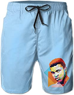 Men's Swim Trunks Quick Dry Muhammad-Ali Boxing Art Print Surfing Beach Board Shorts with Side Pockets