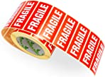 1,000 x Fragile Stickers White on Red 90x35mm 1,000pcs./ Roll with Text On Label - Fragile