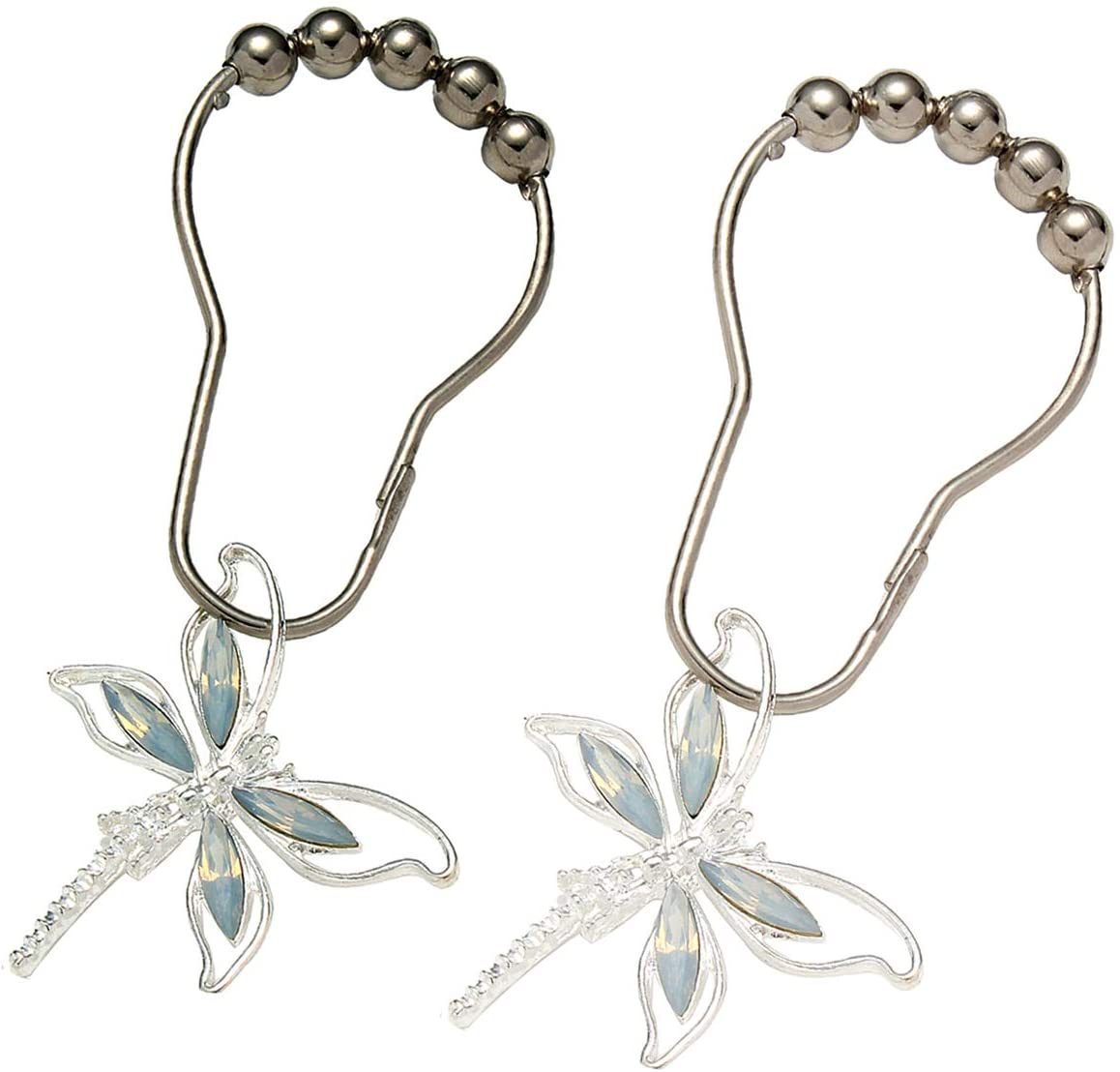 Brushed Nickel Rings with Rhinestones Dragonfly Pendant,Rust Proof Silver Metal Curtain Hangers Aimoye Crystal Dragonfly Shower Curtain Hooks