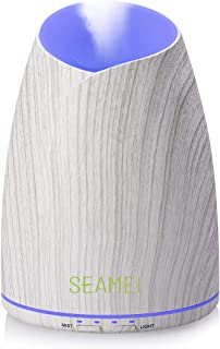 Seamei 500ml Oil Diffuser Aroma Diffuser,Wood Grain Ultrasonic 5 in 1 Ultrasonic Aromatherapy Diffuser with Auto Shut-Off ...
