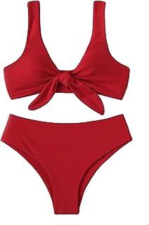 0d82594f6c5ab SweatyRocks Women s Sexy Bikini Swimsuit Tie Knot Front Swimwear Set