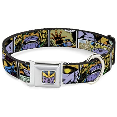 Buckle-Down Dog Collar Seatbelt Buckle Thanos Comic Scene Blocks Available in Adjustable Sizes for Small Medium Large Dogs