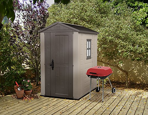Keter Factor 4x6 Outdoor Storage Shed | Store Patio Furniture, Garden tools, Bike accesories, beach chairs, or Lawn Mowers | Taupe & Brown