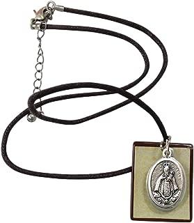 Gifts by Lulee, LLC Virgen de Regla Collar de Cordón Ajustable con Colgante Cuadrado y Medalla con Enchape de Plata y Tarjeta de Oracion Bendecida