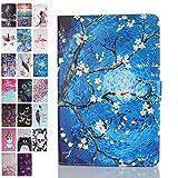 Ancase Tablet Hülle kompatibel für Universal 10 Zoll 9.6 9.7 10.1 Zoll Hülle Hülle Leder Tasche Muster Schutzhülle Flip Cover mit Kartenfach - Blume malen
