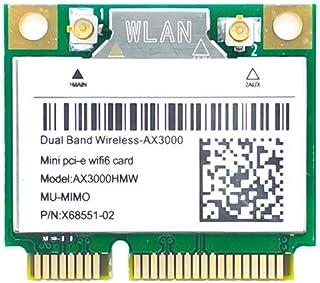 Wi-Fi 6 AX3000HMW 3000Mbps Bluetooth5.1ハーフミニPCI-EネットワークWlan WIFIカード、ワイヤレス802.11ax / acデュアルバンド2.4Ghz / 5GアダプターMU-MIMO、OFDM...