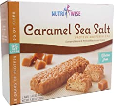 NutriWise - Divine Caramel Sea Salt | Gluten Free Diet Snack Bars | High Protein, Low Fat, Cholesterol Free, Low Net Carbs (7/Box)