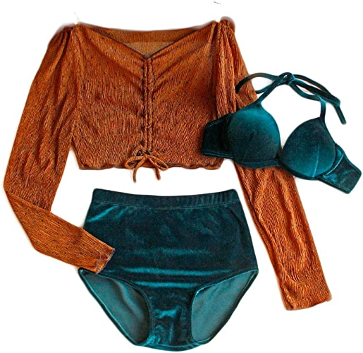 Haut de maillot de bain taille haute, maillot de bain bikini sexy maillots de bain pour les femmes cover ups pour maillots de bain femmes trois pièces maillot de bain rétro vert foncé pour dame
