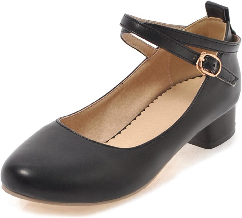 SaraIris Women's Block Mid Heel Double Ankle Strap Casual Pumps