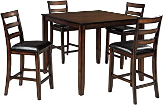 Signature Design By Ashley - Coviar Dining Room Counter Table Set - Set of 5 - Casual Style - Brown