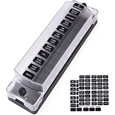 MNJ MOTOR 12-way Blade Fuse Box Holder for DC Circuit Connection within 32V Cars Boats