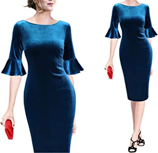 Cheryl Bull Nice Flare Trumpet Bell Sleeve Polka Dot Print Vintage Pinup Casual Work Office Party Bodycon Sheath Dress