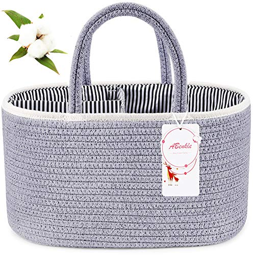 X-Large Baby Diaper Caddy Organizer, ABenkle Cotton Rope Diaper Storage Basket, Portable Baby Basket for Boy/Girl's Nursery Diaper Organizer for Changing Table - for Baby Shower