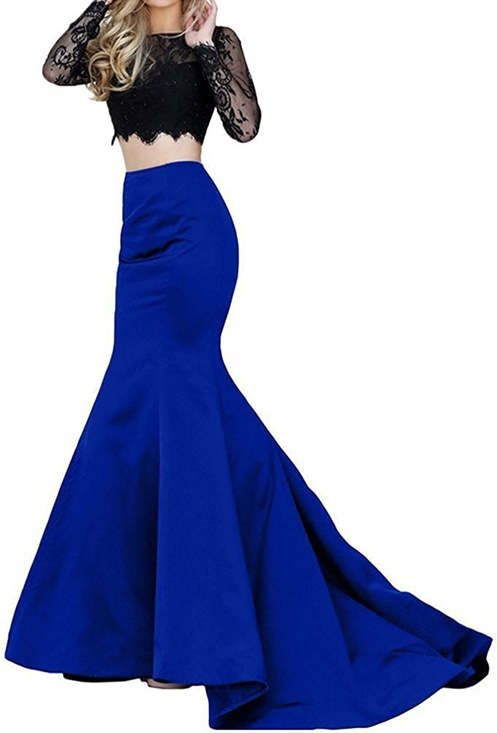 LUBridal Women Satin Two Piece Long Sleeve Lace Top Mermaid Prom Dress 2018 Evening Gown