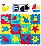 Hakuna Matte Alfombra Puzzle Infantil para Niños | 12 Piezas Espuma EVA con Criaturas del Mar | 20% + Gruesa y Suave para Gatear y Aprender | 100% Segura, No Tóxica, sin Olor
