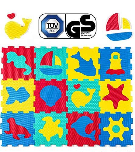 Hakuna Matte Tappeto Puzzle per Bambini con Animali - 12 Piastrelle in Schiuma 20% più Spesse e Morbide - per Imparare e Giocare - 100% Sicuro, Non Tossico, Inodore
