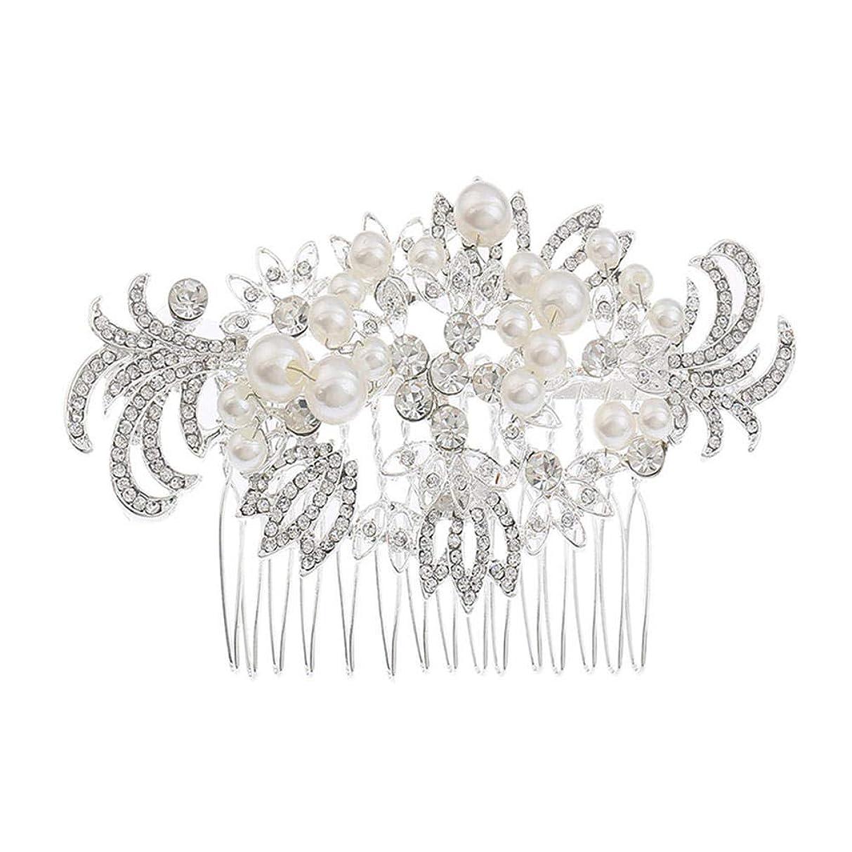 精度水素菊髪の櫛挿入櫛花嫁の髪櫛真珠の髪の櫛ラインストーンの髪の櫛結婚式のヘアアクセサリー合金の帽子ブライダルヘッドドレス
