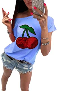XINHEO Womens Short Sleeves Cute Off Shoulder Casual T-Shirt Pullover Tunic Tops