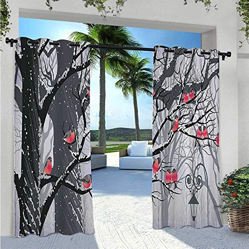 Outdoor Patio Curtain Bullfinches on Trees in Winter City Park Snow Cold Weather Immigrant Birds Design Waterproof Sun Light Blocking Curtain Add Soft Touch to Patio Black Grey Red W55 x L63 Inch