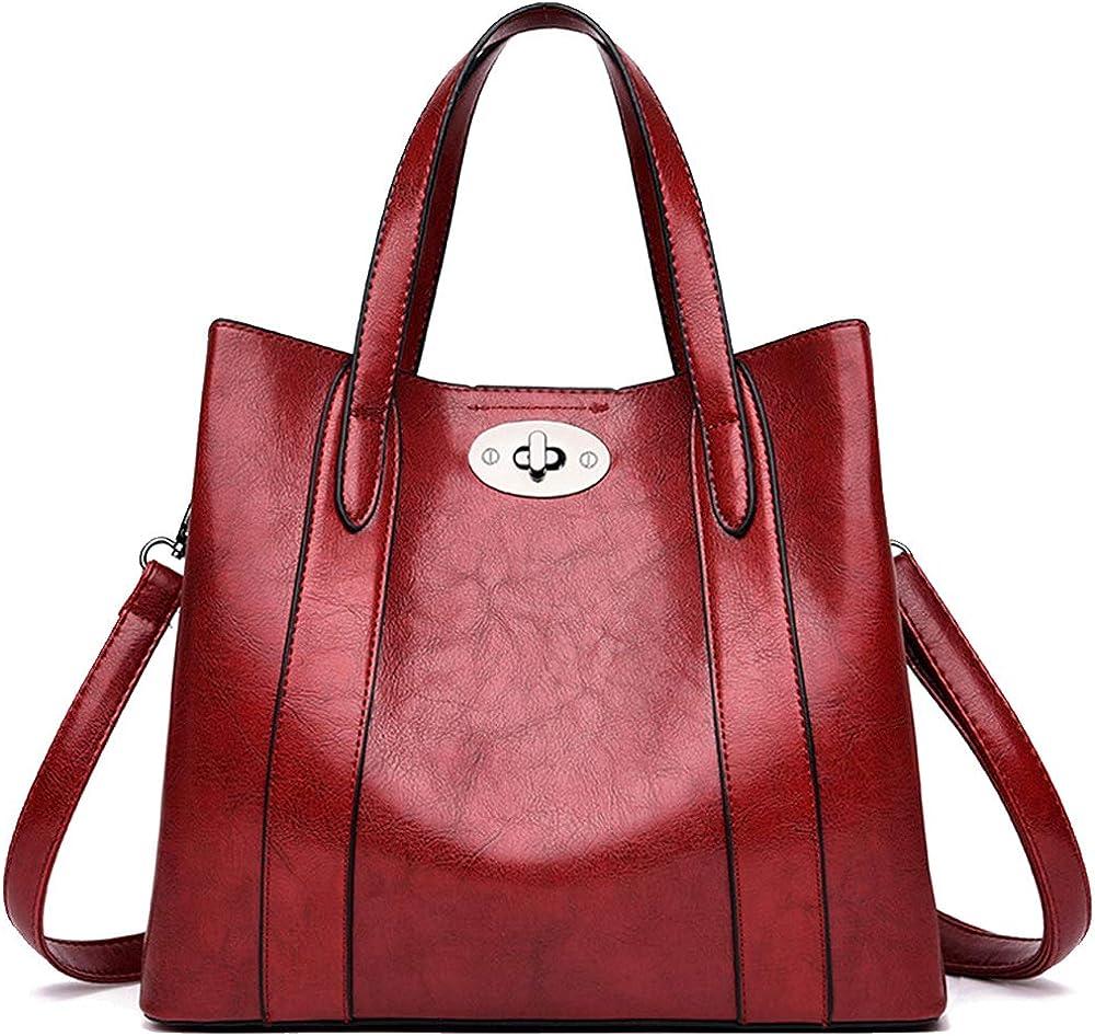 Niyuta , borsa a mano/tracolla da donna, in pelle di alta qualita`, rossa