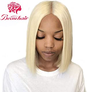 Beauhair 613 Bob Wig Brazilian Straight Lace Front Wig Blonde Human Hair Wigs 4×4 Lace Front Bob Wigs 130% Density Pre Plucked With Baby Hair Virgin Human Hair (10inch)