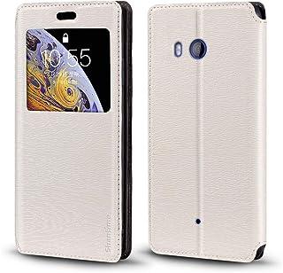 جراب HTC U11، جراب جلد محبب خشبي مع حامل بطاقات ونافذة، غطاء قلاب مغناطيسي لهاتف HTC U11