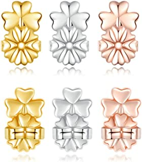 3 Pairs Upgraded Earring Backs Heavy Earring Lifts Support of Adjustable Hypoallergenic Ear Backs Lifters Clutches for Women Replacement (Gold Plated, Sterling Silver, Rose Gold - Clover Style)