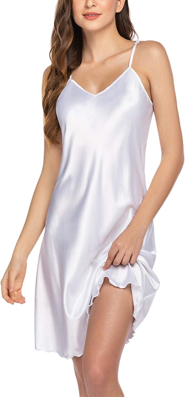 Avidlove Sexy Sleepwear for Women Satin Lingerie Chemise Slip Nightgown Dress
