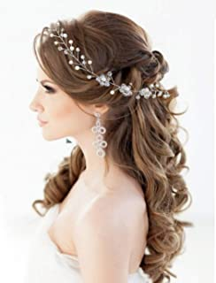 Catery Crystal Bride Wedding Headband Silver Flower Hair Vine Pearl hair Piece Boho Accessories for Women and Girls