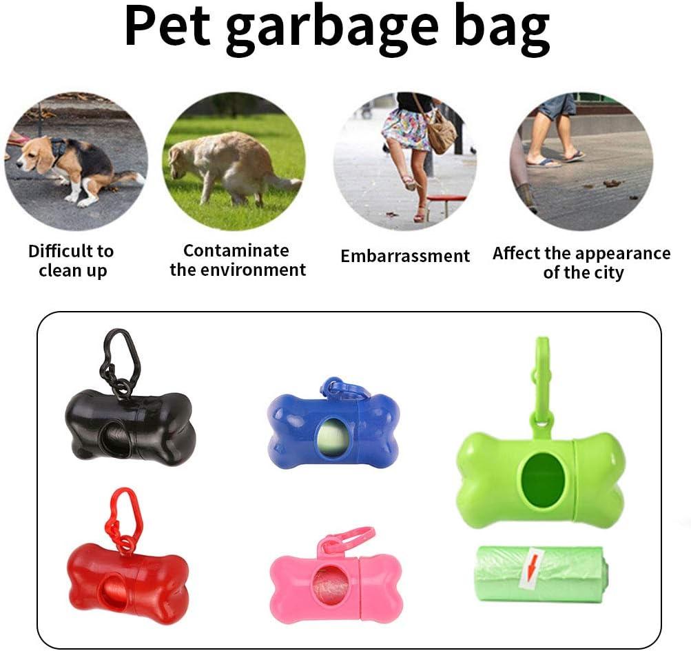 Qinghengyong Impulso del Perro Bolsa Dispensador port/átil al Aire Libre Forma de Hueso de Basura del Gato Mascotas Poo Caja de desechos de Titular Rojo