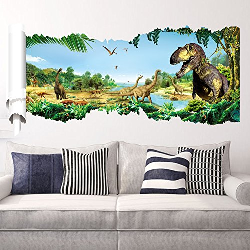 Price comparison product image Zooarts Jurassic World Dinosaur Scroll Wall Decals Sticker for Kids' Room Decor